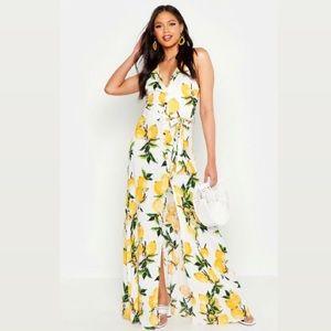 NWT Boohoo Tall Lemon Print Button Maxi Dress 2
